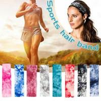 Mujeres Tie-dyed Sport Diadema teñido colorido Elástico Fitness Yoga Sweatband Al aire libre Gimnasio Correr Tenis Baloncesto Bandas anchas de pelo AAA1792