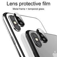 تغطية عدسة الكاميرا شاشة حامي للحصول على اي فون XS MAX XR X 3D العودة حلقة معدنية خلفية حالة الزجاج المقسى فيلم واقية مع حزمة