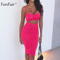 Forefair Summer Sexy Party Party de dos piezas Vestidos de club Mujeres Con pliegues Spaghetti Strap Backless Lápiz Bodycon Vestido