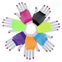 Женщины девушки сетчатые перчатки короткие запястья готический панк рок костюм Fancy Party Mesh перчатки без пальцев Party Favor RRA2674