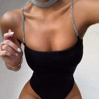 2020 neue Mädchen-Diamant-Kette Riemen Sexy Backless Bodysuit Body Sculpting Bodysuit, Strand Strap Sommer Must-Go