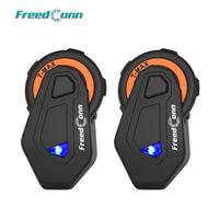 Motorcycle Intercom Freedconn 2 PCS T-MAX 1000M Bluetooth casque de casque Bluetooth FM Radio 6 Riders Group Parler 4.1
