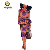 Calças de duas peças de duas peças 2021 Ternos de design Africano para as mulheres Afriprida Impressão Pure Algodão Dashiki Bazin Casual Plus Size Boho Vestido de festa S192