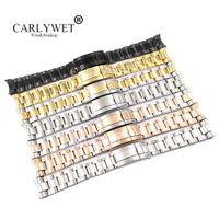 CARLYWET 20 21 milímetros Atacado Prata Rosa de Ouro Preto 316L aço inoxidável sólido Watch Band Belt Correia pulseiras para