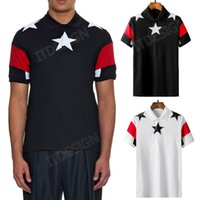 Cuban Fit Polo rayé Top Hommes Polo stars Broderie Patches Top Man Turn Collier manches courtes Homme