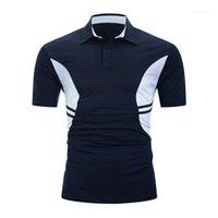 Designer Mens Cotton POLO Short Sleeve Stripe Splicing Polo Casual Solid Colors Lapel Neck Tops Spring