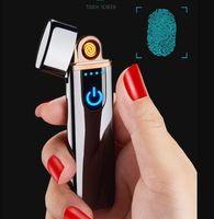 Neue dünne usb ladung touch elektronische leichter winddicht elektrische draht metall zigarettenanzünder für männliche frauen rauchen zubehör geschenkbox