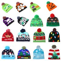 16 colors kids designer hats Led Cotton Christmas Knitted Ha...