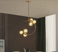 LED Люстра Креативный Спальня прикроватный висячие свет Стеклянный шар Современные Нордик Ресторан Бар Кофе Простой Золотой кулон лампа LLFA