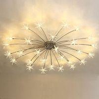 Moderna Plafoniera a LED Fiore di ghiaccio Camera da letto in vetro Cucina Camera da letto Lampada da soffitto Designer Plafoniere 110-240V