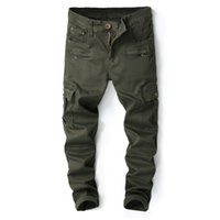 Cargo Pocket Herrenjeans Army Green Punk Style Jeans Skinny Stretch Mens Designer Kleidung Zipper Denim Hosen Hip Hop Jeans