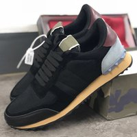 Nouveau chaussures de marque Rockrunner Baskets Nappa en tissu Camouflage Noir en cuir véritable Hommes Femmes Appartements Luxe baskets taille 35