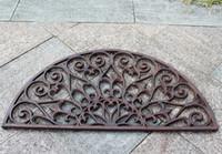 Capacete de ferro fundido metade de porta redonda esteira antique decorativo metal tapete marrom vintage jardim jardim jardim pátio pastagem ornamento artesanato jardinagem