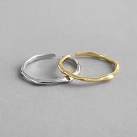 925 anillos abiertos irregulares de plata esterlina para mujeres nuevas simples diminutas boda regalo de los amantes del anillo del manguito de la boda