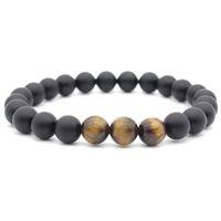 Tigerauge Perlen Stretch Tigerauge Armband Perlen Armband Yoga Energie Heilstein Handgelenk Armband für Männer und Frauen