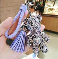 Anello sveglio di Bling completa Cz Strass Gloomy catena orso Keychain auto di lusso Pendant per fascino del sacchetto Hotsale regali di modo