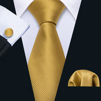 Fast Shipping Silk Tie Set Yellow Solid Tweed Men's Wholesale Classic Jacquard Woven Necktie Pocket Square Cufflinks Wedding Business N-5244