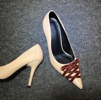 럭셔리 디자이너 빈티지 여성 나비 넥타이 에덴 하이힐 7cm 9cm 살구 가죽 뾰족한 발가락 신발 저녁 파티 댄스 파티 신발 드레스 펌프