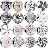 FAHMI 100% 925 Sterling Silver Charme Floral Daisies Dazzing Shimmering Rose Branco Primrose Clear Florescente Dahlia Esmalte Clipe Fixo