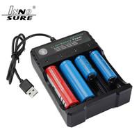Heißer Verkauf Lithium-Batterie-Ladegerät mit USB-Kabel 4 Ladeschächten 18650 26650 18490 Akkus Ladegerät besser NiteCore
