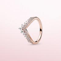 Hot Principessa desiderio Ring per Pandora argento 925 con il diamante della CZ placcato rosa fascino signore anello di alta qualità regalo di Natale oro