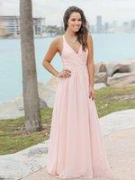 2020 저렴한 여름 보헤미안 아기 핑크 신부 들러리 드레스 섹시한 V 목 Applique 시폰 깎아 지른 뒤로 긴 웨딩 게스트 가운 B022
