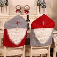 New Christmas Chair Cover Santa Claus Czerwony Krzesło Odzież Krzesło Powrót Krzesła Czapka Zestaw Boże Narodzenie Xmas Home Party Decoration HH9-A2541