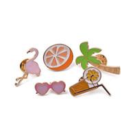 Personalità Creativo Cute Combinazione Combinazione Ornamento Unico Brooch Regalo Flamingo Coconut Tree Drink Pompelmo rosa occhiali da sole