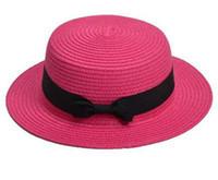 Chapeau chapeau de paille bowknot simple simple été parent-enfant de plage chapeau femme chapeau occasionnel dame femmes filles classique chapeau de soleil LJJJ81