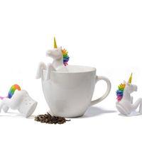 Unicornio té Filtro de silicona Creative Filter suelta ShaLeaf a base de plantas de especias filtro de bolsa de té de grado alimenticio Té Infuser Tamices IIA24