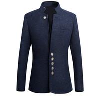 HEFLASHOR 2018 Brand New Vintage Blazer Men Chinese style Business Casual Coats Stand Collar Male Blazer Slim Mens Blazer Jacket