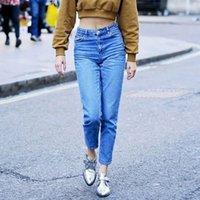 2020 Abner New American Vintage Brand Denim Jeans Женская Мода Высокая Талия Тонкий Твердый Лодыжки Длина Шаровары Мама Джинсы