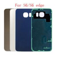 copertura 10pcs di vetro posteriore per Samsung Galaxy S6 bordo G925 G920 la sostituzione della batteria Caso Porta custodia con adesivo + IMEI parti di stampa