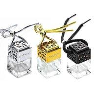 bouteille de parfum Cube Car Hanging parfum Rearview Ornement Désodorisant pour diffuseur d'huiles essentielles Bouteille parfum verre vide GGA1131