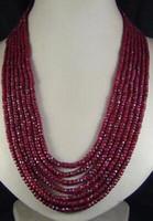 Charmant design long 7 rangées 2x4mm pierre rouge naturelle à facettes collier de perles bijoux de mode