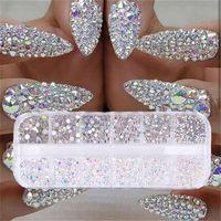 AB kristal yapay elmas elmas mücevher 3D parıltı tırnak sanat dekorasyon güzellik set 12 kutu /