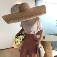 Moda Mujer grande Sombreros de paja Sun Hat Beach Anti Sun Protection Paja plegable Paja Cubierta de la paja de gran tamaño Sombrilla Polla Playa