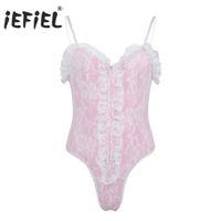 iEFiEL Mens Gay Lingerie Body Suit Cinghie Taglio alto Orsacchiotti Increspature Body Catsuit Abiti da notte speciali speciali Sissy Clubwear