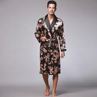 الرجال الخريف جديد كم طويل زوجين ملابس الرجال حمام الحرير بيجامة التنين طباعة الصفحة الرئيسية ملابس الجلباب رداء حمام رداء