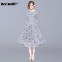 Borisovich Women Casual Long Dress New 2018 Autumn Fashion Hollow Out Lace Big Swing Luxury Elegant Ladies Party Dresses N013 T5190613