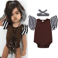 Baby Girls Cotton Pagliaccetto Infant Toddler Stripe Print Ruffles Sleeve Tuta Body + Fascia a righe Cute Baby Girl's Wear