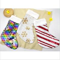 Pullu Noel Çorap Noel hediye çantası Asma parti Noel ağacı Dekorasyon şeker torbaları Tutucu Güzel payetli parıltılı çorap CFYZ108Q