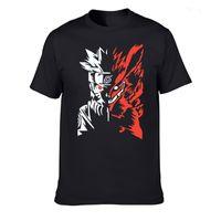 T-shirts hommes Streetwear Hommes Coton Col Coton O-Cou Sleed Sleeve Dessin animé Naruto Imprimé T-shirt Tees Plus Taille