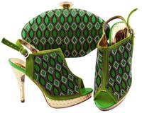 Prachtige groene vrouwen schoenen met strass rooster stijl Afrikaanse pompen match handtas set voor jurk jzc003, hiel 12cm