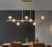 Nuevo restaurante abierto todo el cobre araña de iluminación llevada barra de cristal nórdica lámparas sencilla moderno restaurante casa Nakajima araña LLFA
