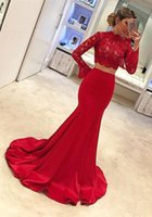2020 New Red High Neck Långärmade Mermaid Prom Klänningar Sexiga Två Pieces Lace Appliques Top Satin Long Evening Party Gowns