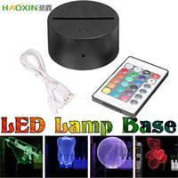 Haoxin USB Cable TOUCH 3D LED Soporte de luz Base de la lámpara para la luz de la luz de la noche Reemplazo 7 Color Colorful Light Bases Base de control remoto