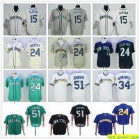 2019 남자 여자 아이 야구 51 Ichiro Suzuki Jersey 15 Kyle Seager 24 Ken Griffey Jr. 51 Randy Johnson 34 Felix Hernandez Stitched Jerseys