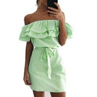Gestreiftes Kleid Frauen-Sommer-Sexy-Boot-Ausschnitt Minikleid Mädchen Rüschen Off Schulter-Verband-Parteibüro Strand-Kleider Plus Size
