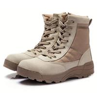Erkekler Taktik Askeri Ordu Botlar Nefes Deri Erkek SWAT Ayak bileği Combat Boot Yüksek En Popüler Basit Çöl İş Ayakkabıları Örgü